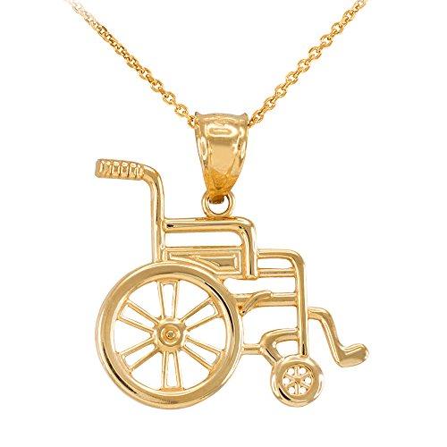 Collier Femme Pendentif 10 Ct Or Jaune Handicap D'Invalidité Sensibilisation Fauteuil Roulant (Livré avec une 45cm Chaîne)