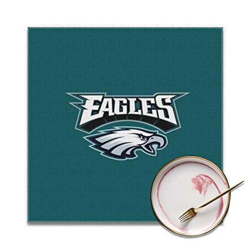 - MamaTina Custom Colourful Placemats for Dining Table Set of 4 Philadelphia Eagles Football Team Heat-Resistant Placemats Washable Polyester Kitchen Table Mats - 12x12 Inches