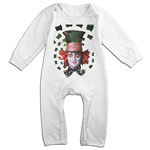 Ahey Boy's & Girl's Mad Hatter Tea Long Sleeve Bodysuit 18 Months (Beer Bobblehead)