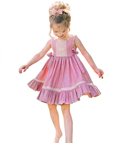 Girls Ruffle Dress (Toddler Kids Little Girls Sleeveless Lace Wedding Birthday Party Princess Ruffle Dress Outfits (3-4T,)