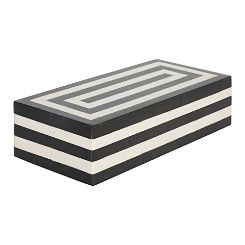 Handicrafts Home Concentrics Keepsake Decorative Jewelry Storage Box Black & White Bone Handmade Boxes from (Rectangular) ()