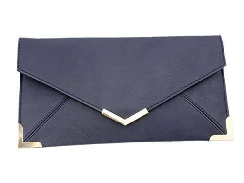 Haute For Diva's Womens Small Envelope Faux Leather Gold Trim Prom Party Bridal Clutch Purse Hand Bag Dark Blue