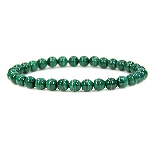 "Amandastone Natural AA Grade Malachite Gemstone 6mm Round Beads Stretch Bracelet 7"" Unisex"