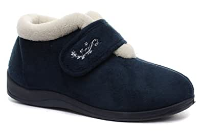 Amazon.com | Dunlop Deloris Navy Womens Boots Slippers