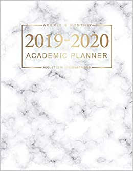 Amazon.com: 2019-2020 Academic Planner: Marble White Cover ...