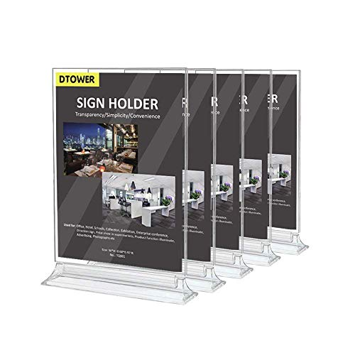 Restaurant Menu Holder Sign Holder Double Sided Clear Plastic Card Display Table Tent Ad Photo Picture Portrait Frame Stand Horizontal 5pack(MAX Size for Paper: 8.26 W x 11.69 H)