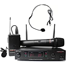 Phenyx Pro VHF Wireless Microphone System, 1 Handheld Mic 1 Headset Mic 1 Lapel Mic 1 Bodypack Combo, Reliable Performance, Fixed Frequency, Ideal for Church, Presentation, Public Address, Interview