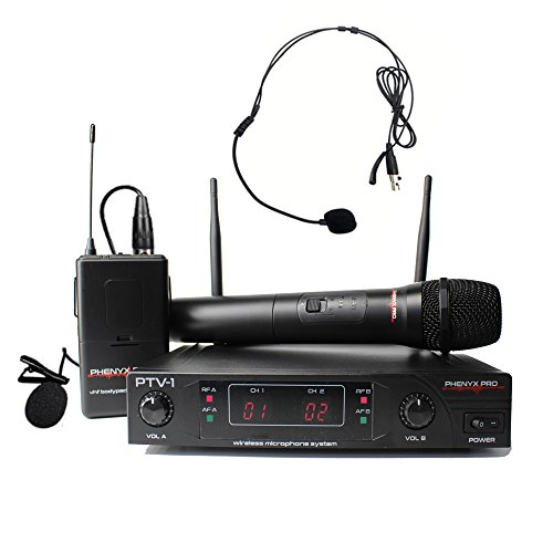 Phenyx Pro VHF Wireless Microphone System, 1 Handheld Mic 1 Headset Mic 1 Lapel Mic 1 Bodypack Combo, Reliable Performance, Fixed Frequency, Ideal for Church, Presentation, Public Address, Interview, - Pro Handheld Mic