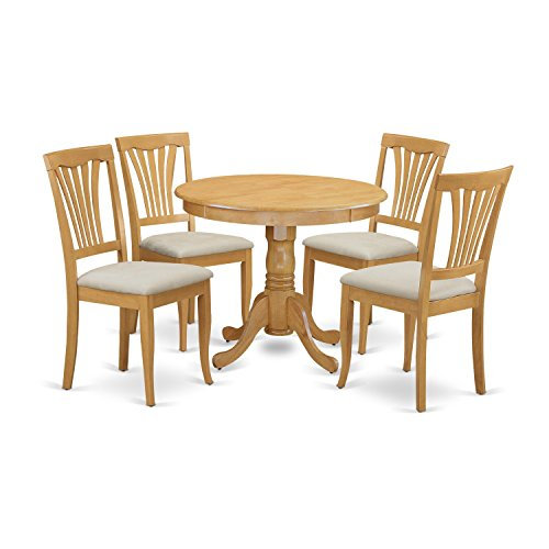 East West Furniture ANAV5-OAK-C 5 Piece Kitchen Dinette Table and 4 Chairs Set