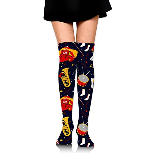Women's Knee High Socks Fancy Design Multi Colorful Patterned Marching Band Knee Socks