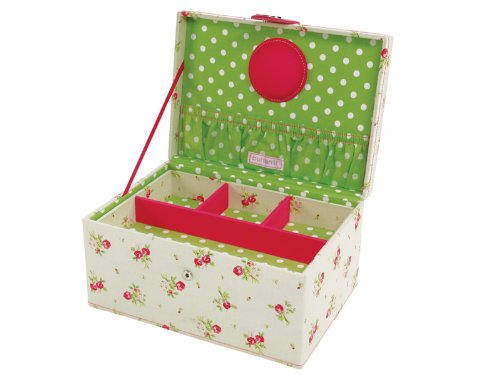 **SPECIAL OFFER 40% OFF** Button It   Country Floral   medium cream floral sewing box with green polka dot lining