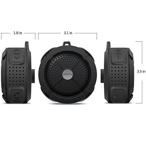 Photive Rain Waterproof Portable Bluetooth Shower Speaker Rugged Wireless Outdoor Shower