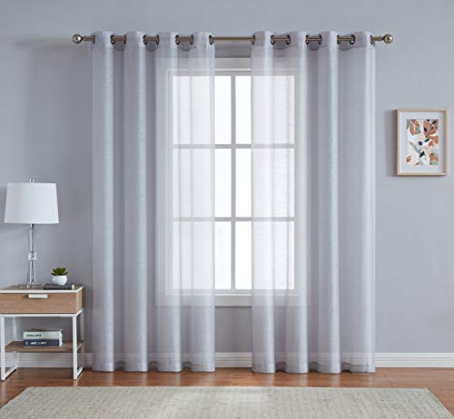 Grommet Semi-Sheer Curtains - 2 Pieces - Total Size 108 Inch Wide (54 Inch Each Panel) - 108 Inch Long - Panel Beautiful, Elegant, Natural Light Flow, Durable Material (54
