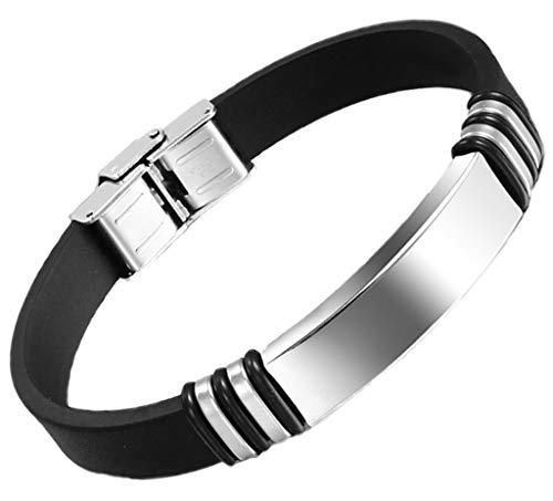 Epinki Stainless Steel Charm Bracelet for Men Bracelet Black Rubber Cuff Bangle Wristband 11X223mm (Dolce Gabbana Bracelets Gold)