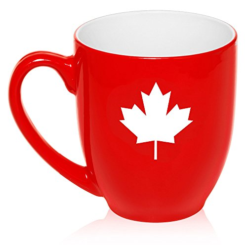 16 oz Large Bistro Mug Ceramic Coffee Tea Glass Cup Maple Leaf Canada -