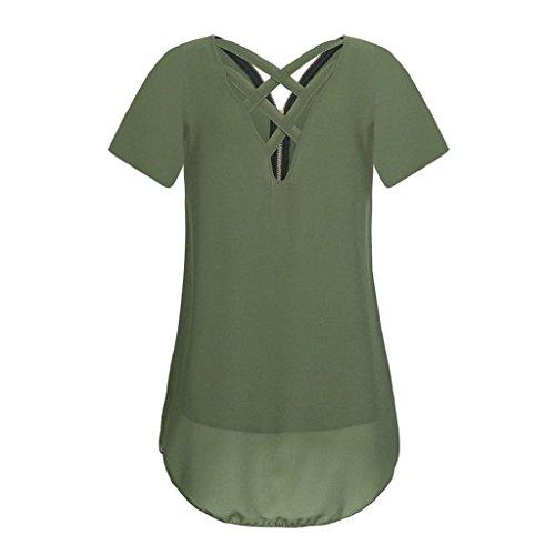 T Frauen zurück Unterhemd Bluse Chiffon Unregelmäßigkeit V Damen Hemdbluse Tank Rovinci Ausschnitt Sommer Vorne aushöhlen Elegant Tops Ärmellos Reißverschluss T Armeegrün Shirt shirt Weste x6R75n