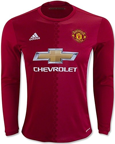 Adidas Manchester United 16/17 Long Sleeve Home Rea Red/Pow Red/White Jersey - L