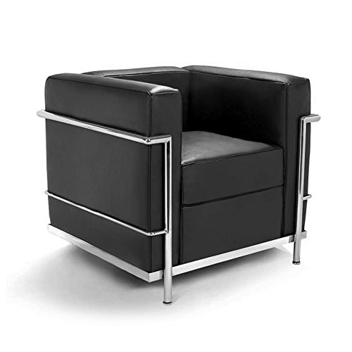Mid-Century Classic Designer Chair - Genuine Leather (Black)