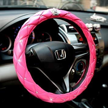 Uniqus The color Pink Leather Car Steering Wheel Cover Sets Four Seasons General with Diamond and Silver Crown
