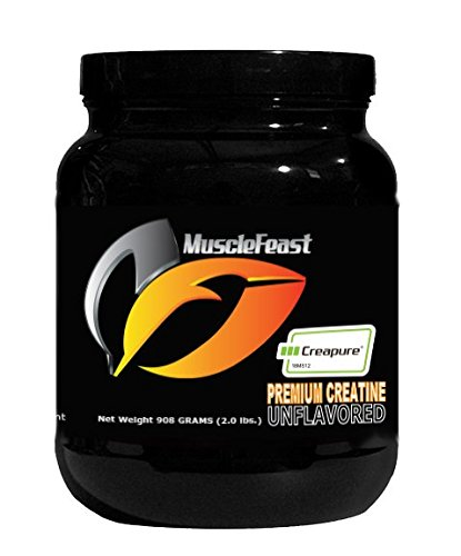 Creapure Creatine Monohydrate Powder - by Muscle Feast   Premium Pre-workout or Post-workout   Easy to Mix And Gluten-Free (2lb, Unflavored)