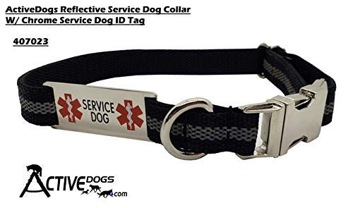 Activedogs Reflective Service Dog Collar W/Chrome Service Dog ID Tag (L 19