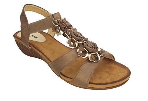 chix Womens Mocha Flower Trim Sandals - Slip on with Stretch Front Strap XxMh2A