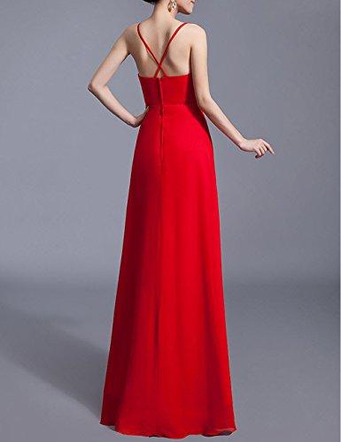 ausschnitt Abiballkleid Strassteinen Rot Hochzeitskleider Lactraum Brautjungfernkleid LF4029 Abendkleid Reißverschluss Kleider Chiffon Abschlussball Ballkleid V Pailletten P8801Zq