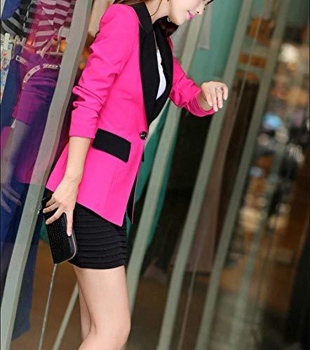 Giaccone Slim Fit Business Manica Donna Giacca Button Rot Cappotto Bavero Lunga Modern Tailleur Stile Rosa Bicolore Autunno Da w7fqqxB