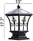 HomeTown Market The Stylish Extra Large Solar Post Cap Lights or Solar Pillar, Diameter: 9.45 Inch; Height: 17.7 Inch. Solar Powered Post Caps. Solar Post Cap (Sword Black)