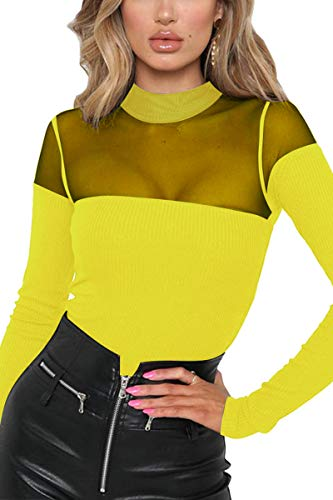 Belypoe Woman's Round Neck Splice Button Closure Lace Mesh Leotard Bodysuit Yellow M ()