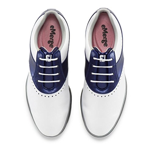 FootJoy Women's eMerge Spiked Golf Shoes, Close-out (7 B(M) US, White/Navy Linen 93900) by FootJoy (Image #1)