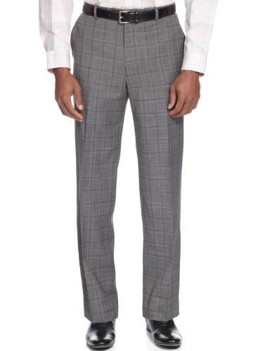 Windowpane Plaid Pant (Alfani Men`s Flat front Slim Fit Stretch Gray Glen Plaid Dress Pants (30W x 30L))