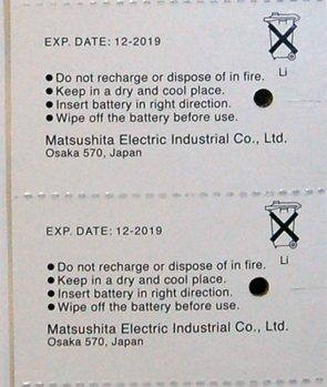 2019 Date Exp 2PC Panasonic CR2016 2016 3V Lithium Battery