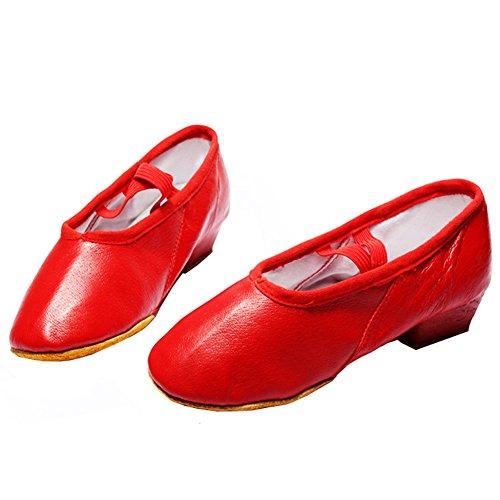 高いエスニック興味バレエシューズ レディース バレエシューズ 上履き 大人 歩きやすい 赤 ピンク 黒 レザー 大人用ダンスシューズ ダンスレッスン練習用