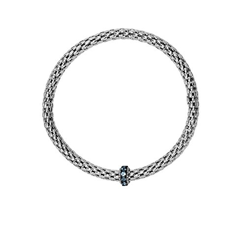 Sterling Silver Black 8-4.5mm Stretchable Popcorn Bracelet 2mm Cut 0.4ct. Blue Topaz Barrel Element by JewelryWeb