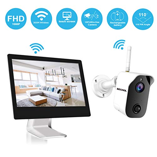 【2019 New】 Bechol 1080P Wireless Security Camera System,All-in-One 4CH 100% WiFi NVR with 9 inch Touchscreen LCD Monitor, Wire-Free Bullet Camera with Rechargeable Battery No TF Card