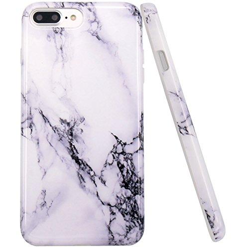 iPhone 7 plus Hülle, LOVONKI Weiß Marmor Serie Flexible TPU Silikon Schutz Handy Hülle Handytasche HandyHülle Etui Schale Case Cover Tasche Schutzhülle für iPhone 7 plus