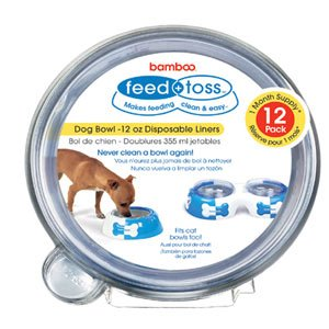 Bamboo Feed and Toss 12oz Disposable Dog Bowl Liners 12 Pack, My Pet Supplies