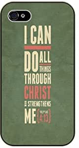 I can do all things through Christ who strengthens me - Vintage green - Philippians 4:13 - Bible verse iPhone 4 / 4s black plastic case / Christian Verses
