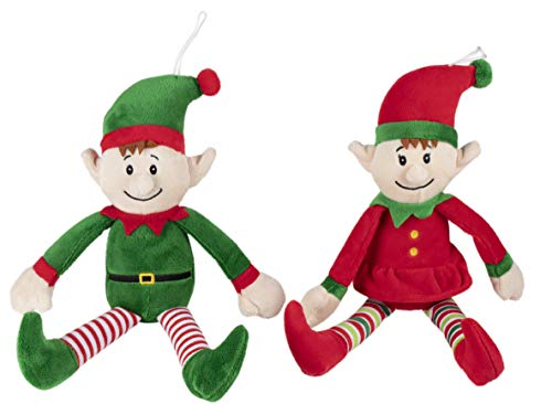 Christmas Elf Plush Toy - 2-Pack Little Santa Helper Kids Soft Stuffed Toy, Fun Holiday Party Gifts Girls, Boys, Festive Decoration, Red, Green, 12.5 x 3 Inches