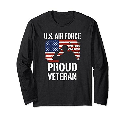 Air Long Force Sleeve T-shirt (Unisex U.S. Air Force Proud Veteran USAF Long Sleeve T-Shirt Large Black)