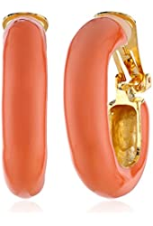 Kenneth Jay Lane Polished Gold and Coral Enamel Clip-On Earrings