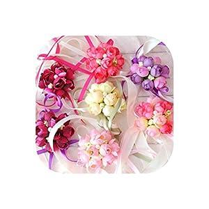 Bridesmaid Creative Artificial Wristband Bracelet Curtain Band Wrist Flower Rose Silk Ribbon Hand Decor Bride Flowers Wedding 55