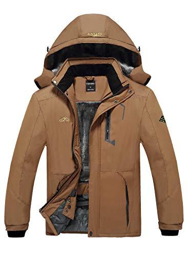 EQUICK Men's Mountain Waterproof Ski Jacket Windproof Rain Jacket,U218WCFY028,Coffee,L