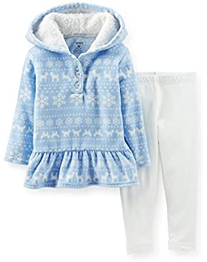 Carters Infant Girls 2 Piece Blue Reindeer Sweatshirt & White Leggings
