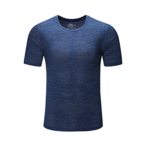 Willow S ❤ Men's Summer Casual O-Neck Solid Color Quick-Drying ClothesT-Shirt Fitness Sport Fast-Dry Breathable Top Blouse ()