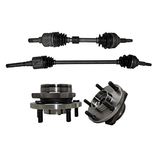 Detroit Axle - New 4pc Kit - Both (2) Front Driver & Passenger Side CV Axle Drive Shafts + Both (2) Wheel Hub & Bearings - FWD Grand Caravan Town & Country Voyager, Caravan - NOT for 14' Wheel Models (Voyager Hub Front Plymouth)