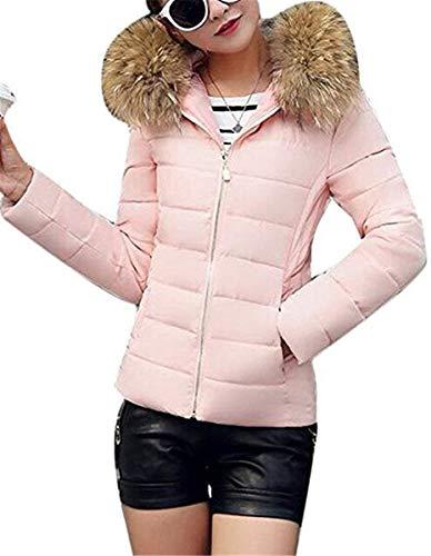 Día Piel Invierno Moda Plumas Acolchado Unicolor De Grandes Termica Slim Manga Abrigo Con Rosa Casuales Parkas Retro Tallas Mujer Elegantes Capucha Larga Cortos Outdoor Fit OF88q