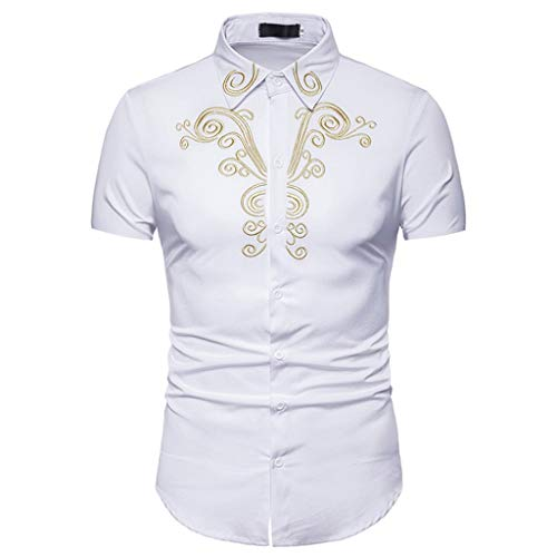 Men Hipster Casual Slim Fit Short Sleeve Button Down Shirts Tops with Embroidery White