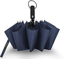 折りたたみ傘 ワンタッチ 自動開閉 10本骨 Teflon加工 超撥水 大きい メンズ おりたたみ傘 210T高強度グラスファイバー 耐風傘 折り畳み傘 台風対応 梅雨対策 晴雨兼用 収納ポーチ付き